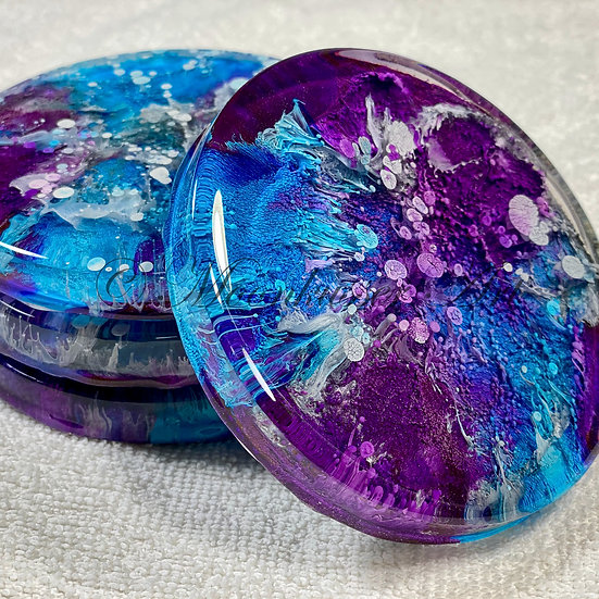 Resin Art Coasters - Blueberry Bubbles - with the look of petri dish details of blue, purple, and silver