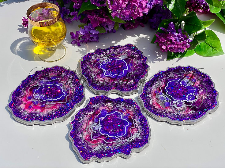 Geode Resin Coasters - Lilac Geodes, shades of lilac and pink sparkle with glitter and shine
