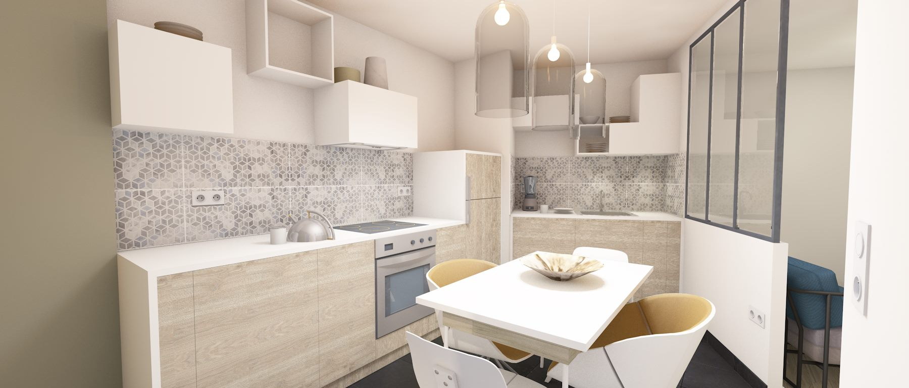 3D cuisine avec verrière étude 4