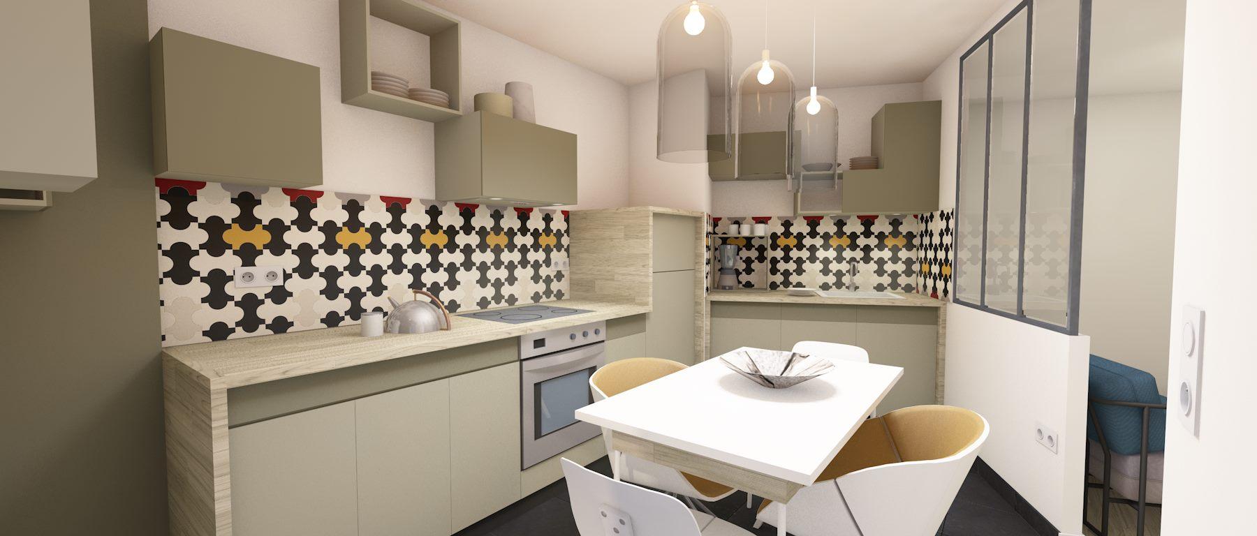 3D cuisine avec verrière étude 2