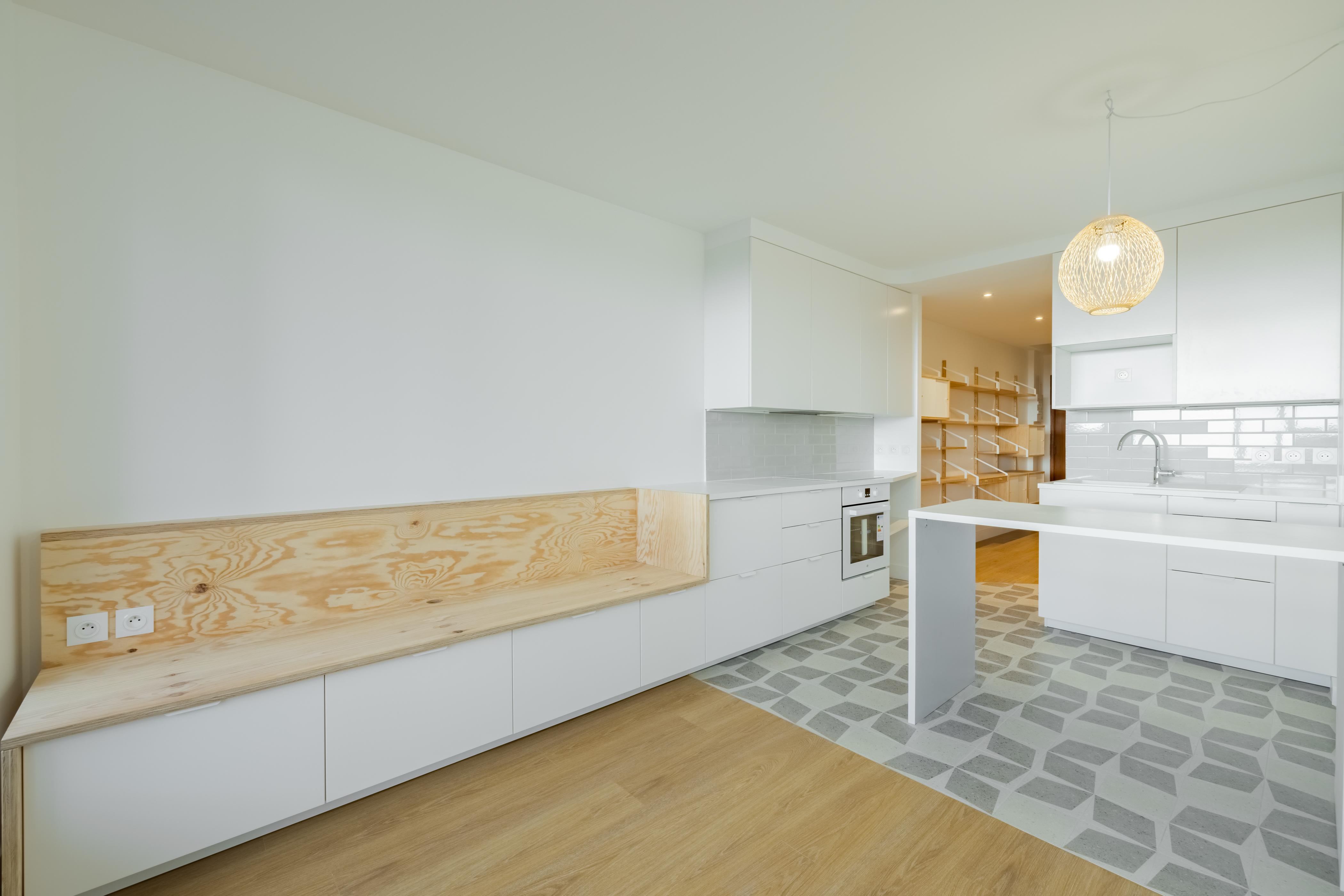 vue d'ensemble meuble TV/cuisine