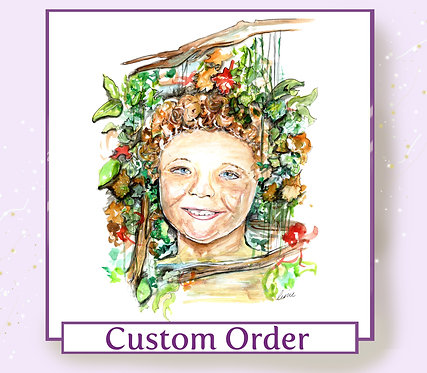 Custom Floral Portrait Face Illustration - Watercolour on Paper - A3 Sized
