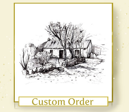 Custom Venue or Home Illustration - A5 Size - Black and White