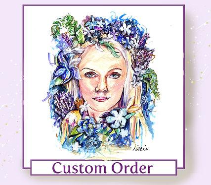Custom Floral Portrait Face Illustration - Watercolour on Paper - A4 Sized