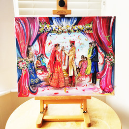 Live Indian Wedding Painting on Canvas