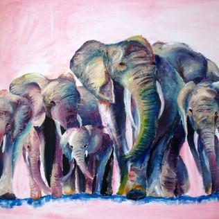 Elephants Acrylic on Can