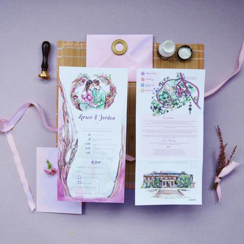 G&J Wedding  Z Fold Stationery Image Pur