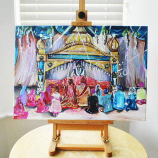 Live Sikh Wedding Painting on Canvas
