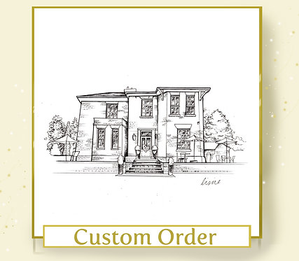 Custom Venue or Home Illustration - A3 Size - Black and White
