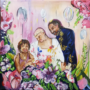 Wedding Family Portrait on Canvas