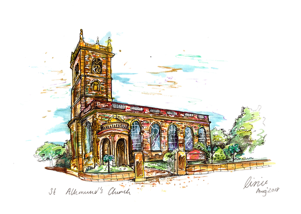 Wedding Venue Illustration St Alkmunds Church