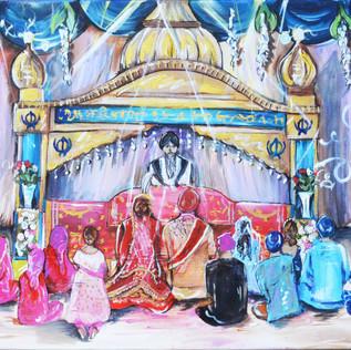 Live SikWedding Painting on Canvas
