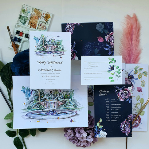 Wedding Stationery Design with bespoke Illustrations - Wotton House