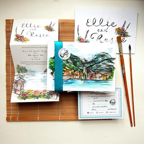 Wedding Stationery Design with bespoke Illustrations - Italy