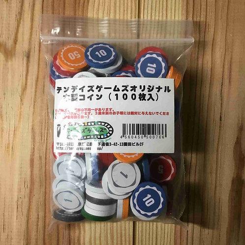 """テンデイズゲームズ オリジナル木製コイン100枚セット Tendays Games Original Wooden Coins """"100"""""""