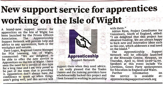 Article in the Isle of Wight Observer-pa
