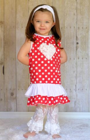 007ae494c8d Red With White Dots Sleevless Boutique Dress With Lace Heart Accent