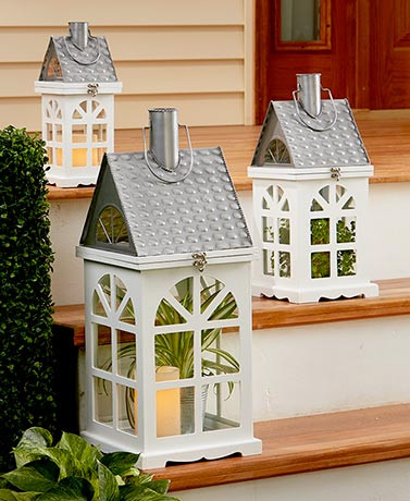 Wooden Farmhouse Candle Lanterns 3 Sizes Available Add Your Own Touch To This House Lantern The Glass Panel Sides Let You Fill It With