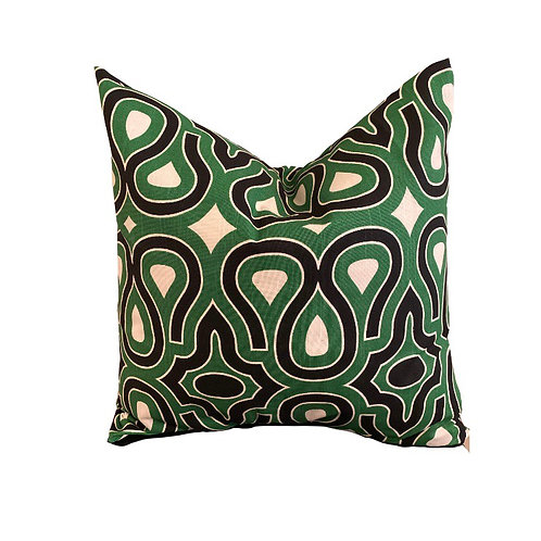 Green Geometric Fabric Pillow Cover NEW!