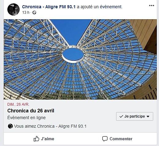 Interview  dans l´émission  Chronica sur Radio Aligre