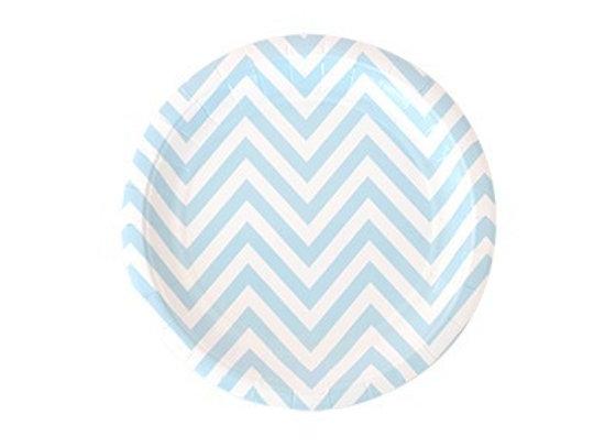 Teller Dessert chevron blau weiß von Illume Partyware