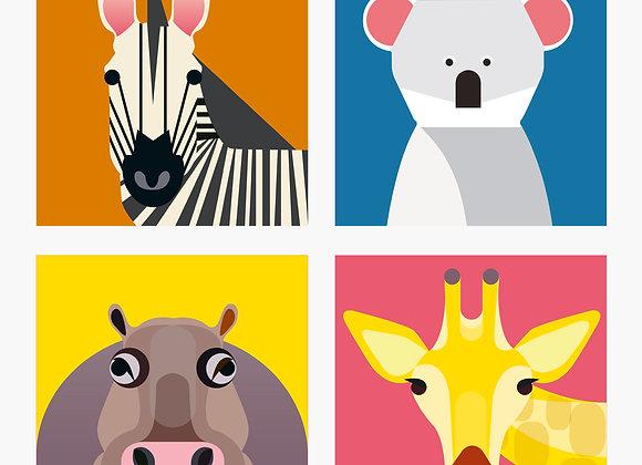 ♡ Vier Magnete von Studio Roof (Zebra, Nilpferd, Giraffe, Koala)