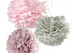 Talking Tables Pom Pom Set in rosa, grau und lavendel