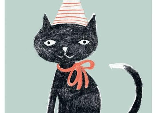 ♡ Postkarte Kater mit Hut