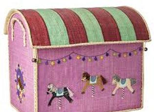 ♡ Spielzeugkorb groß Karussell Pferde