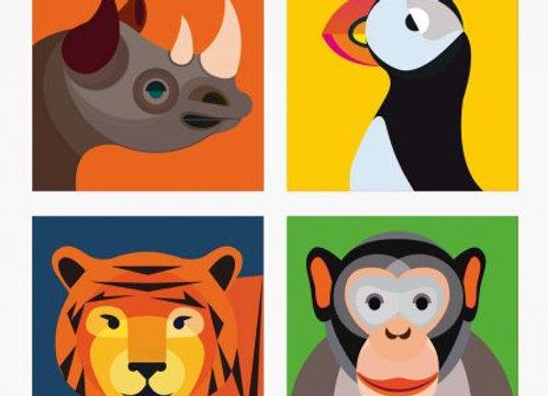 ♡ Magnete von Studio Roof (Nashorn, Tiger, Affe, Papageientaucher)