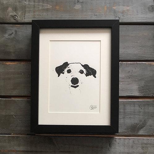 'Chukka the Jack Russell' Lino Print