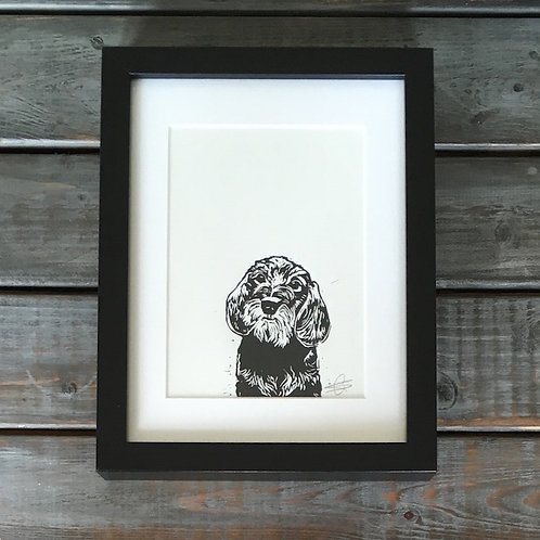 'Digby the Wire Haired Dachshund' Lino Print