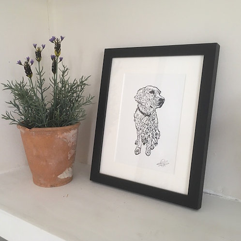 'Ellie the Golden Retriever' Lino Print