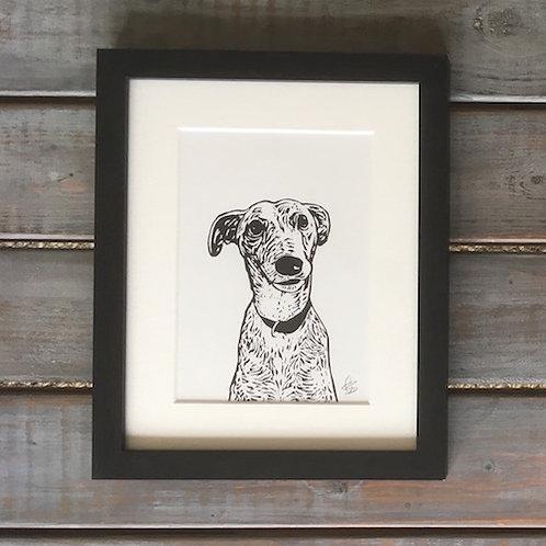 'Pheonix the Greyhound' Lino Print