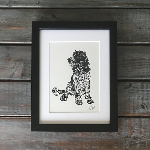 'Rigby the Cocker Spaniel' Lino Print