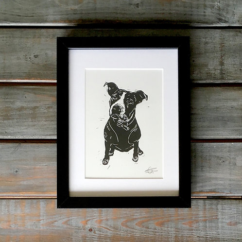 'Lola the Staffie' Lino Print