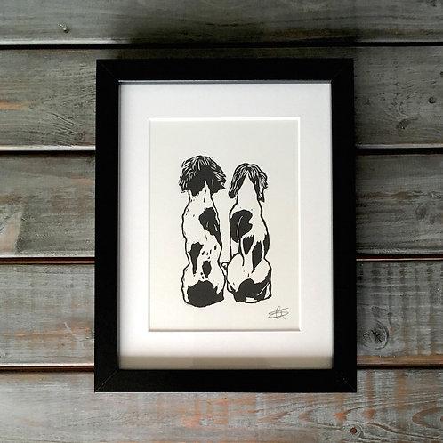 'Spaniels' Lino Print