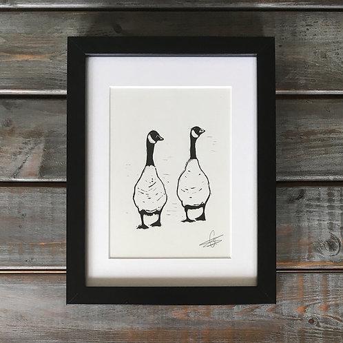 'Geese' Lino Print