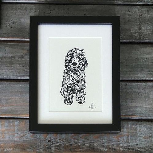 'Coco the Cockapoo / Labradoodle' Lino Print