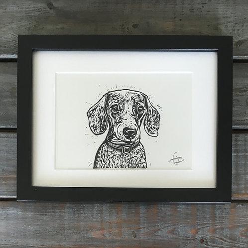 'Duke the Dachshund' Lino Print