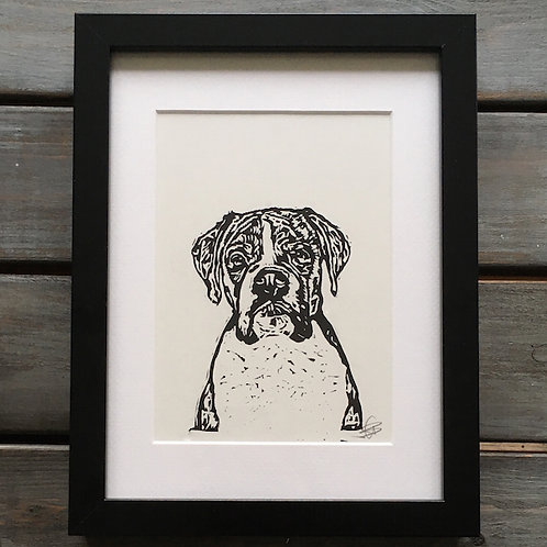 'Rupert the Boxer' Lino Print