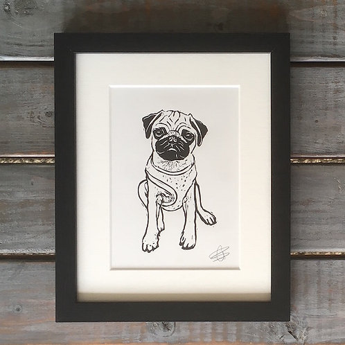'Edgar the Pug' Lino Print