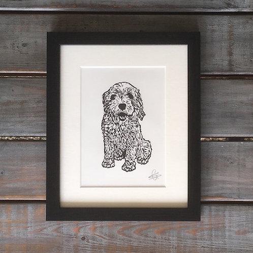 'Woody the Tibetan Terrier' Lino Print