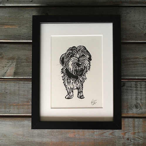 'Motley the Terrier' Lino Print