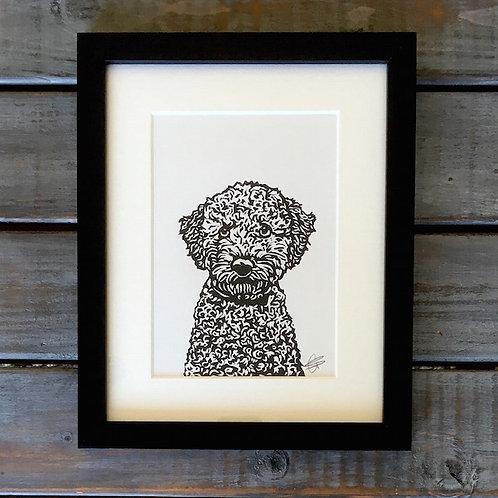 'Bella the Poodle' Lino Print