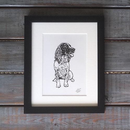 'Poppy the Springer Spaniel' Lino Print