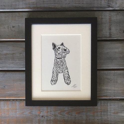 'Max the Fox Terrier' Lino Print