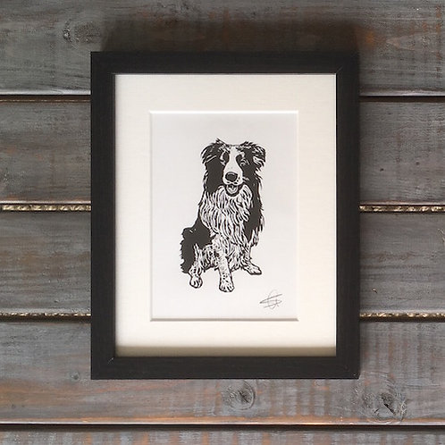 'Ollie the Border Collie' Lino Print