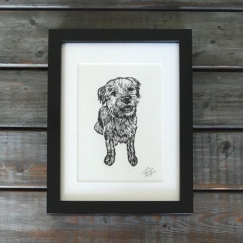 'Boson the Border Terrier' Lino Print