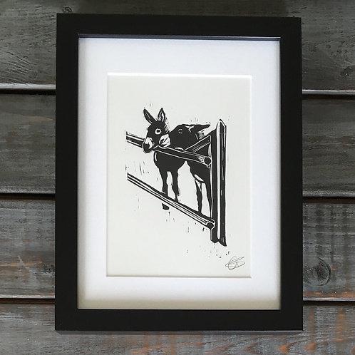 'Donkeys' Lino Print